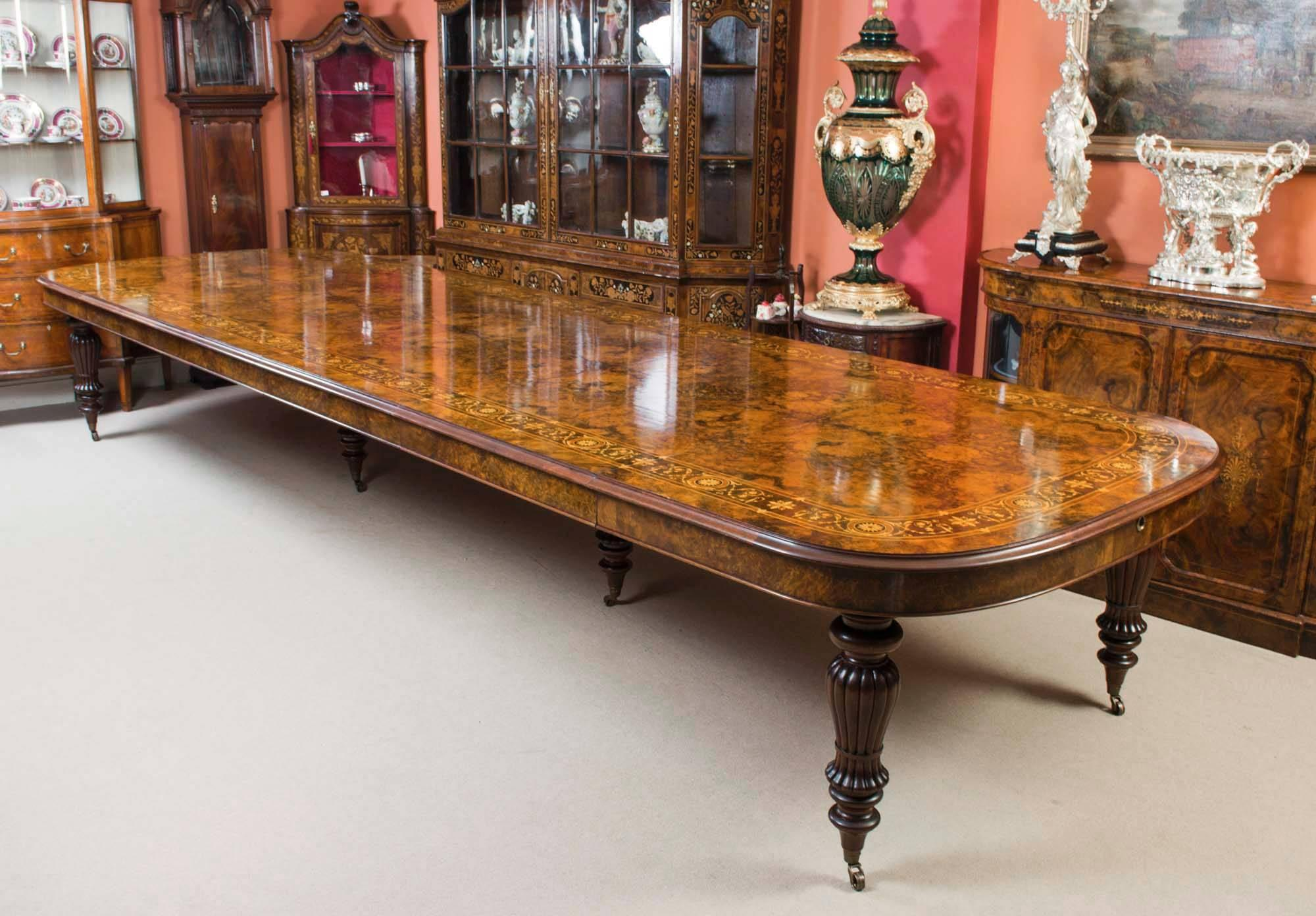 Superb Huge Bespoke Handmade Marquetry Walnut Extending Dining Table 18 Chairs For  Sale At 1stdibs