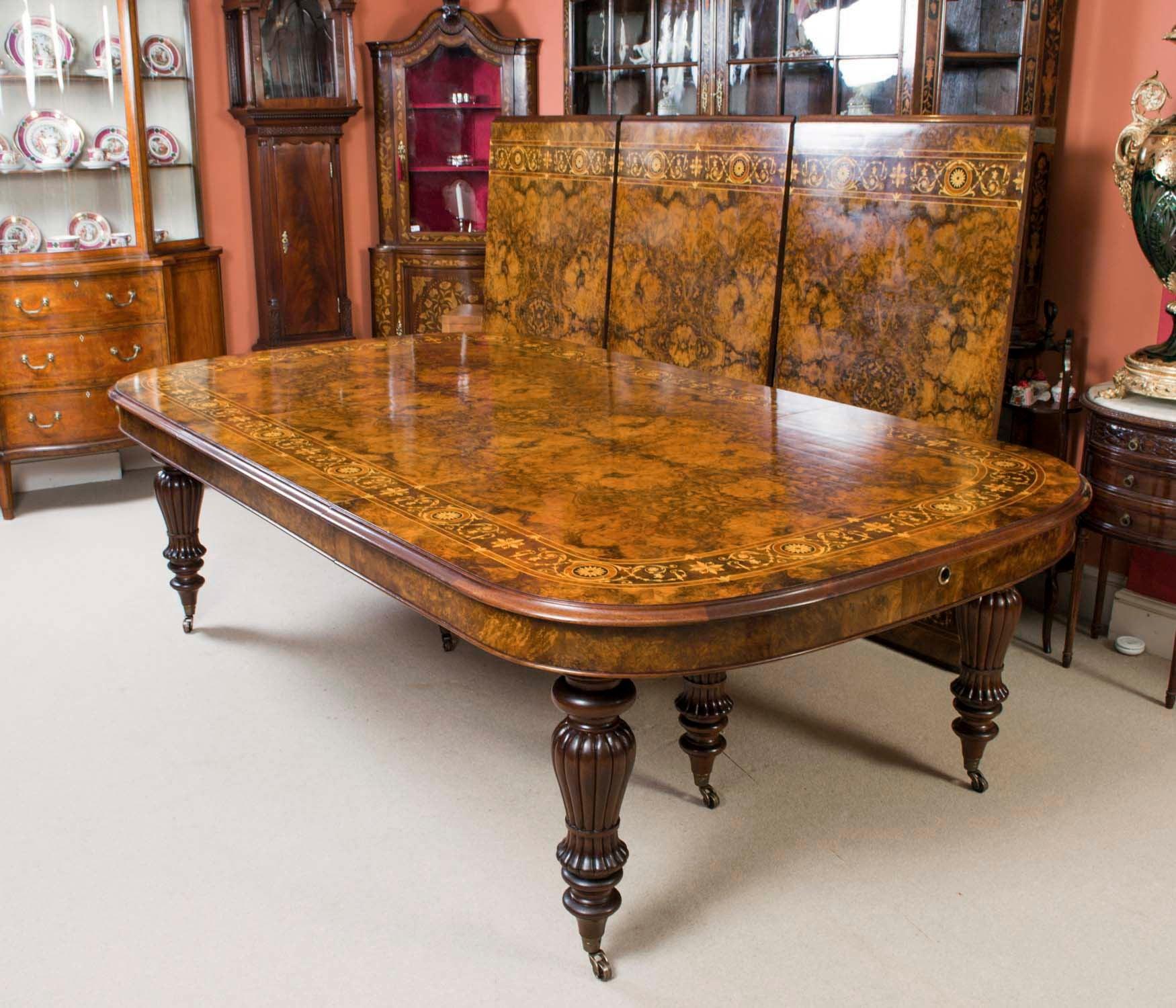 Huge Walnut Table 18 Bespoke Extending Chairs Marquetry Handmade Dining Ok0Xnw8P
