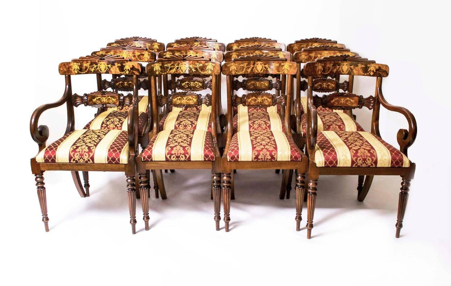 Delightful Huge Bespoke Handmade Marquetry Walnut Extending Dining Table 18 Chairs For  Sale At 1stdibs