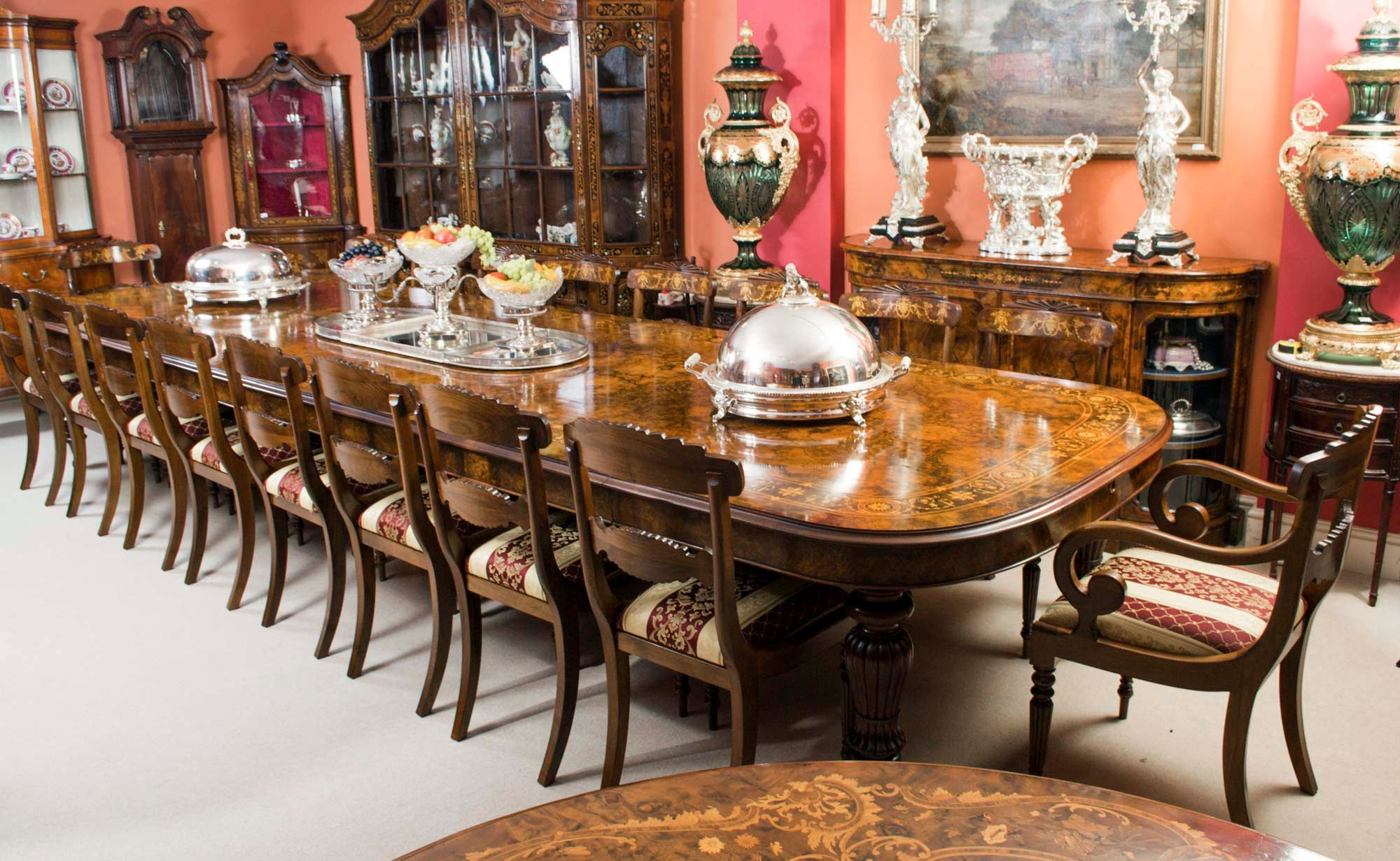 Ordinaire Huge Bespoke Handmade Marquetry Walnut Extending Dining Table 18 Chairs For  Sale At 1stdibs