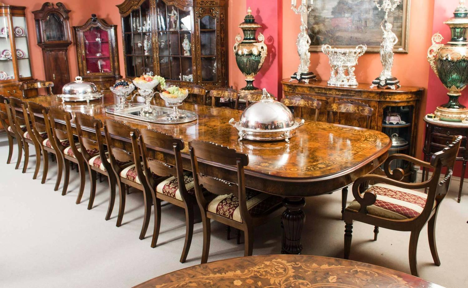 Huge marquetry walnut extending dining table 18 chairs for for Big dining table in small space