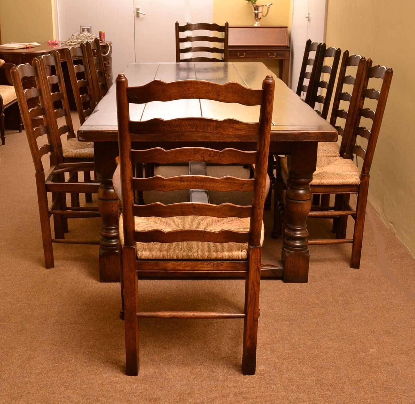 table and set of ten ladderback chairs comprising eight chairs and