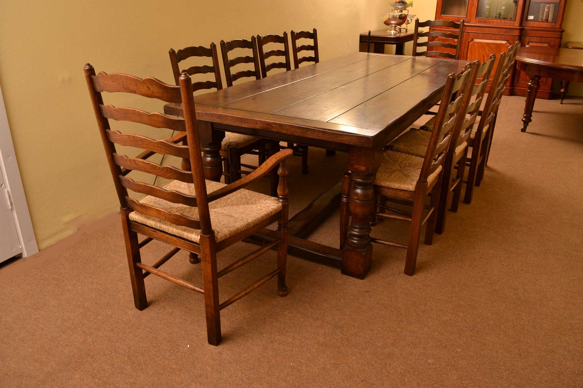 Bespoke Solid Oak Refectory Dining Table And 10 Chairs For