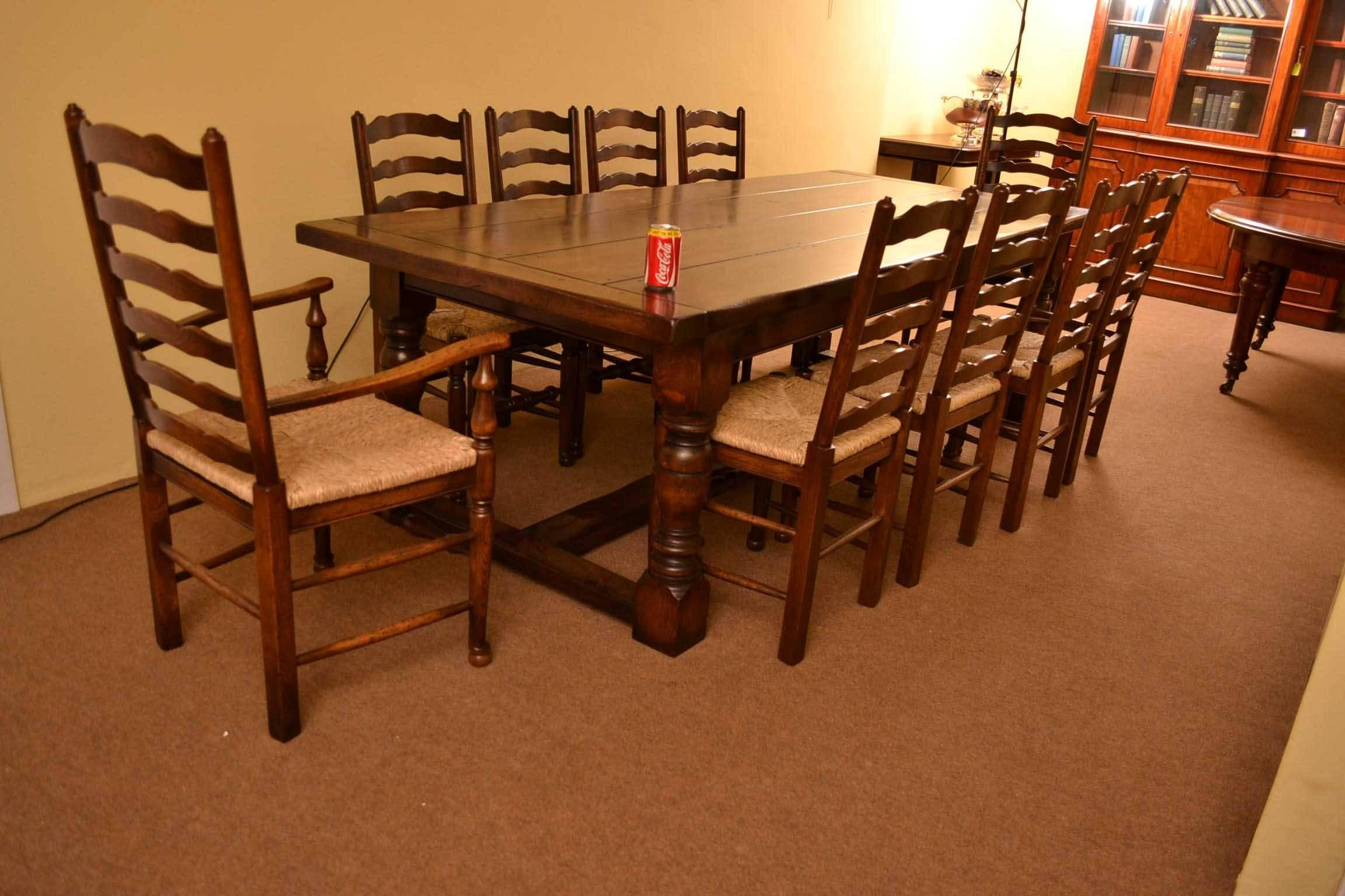Bespoke Solid Oak Refectory Dining Table And 10 Chairs For At 1stdibs