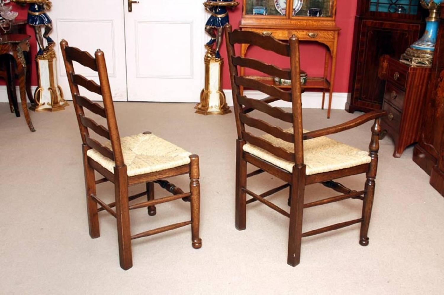 bespoke solid oak refectory dining table and ten chairs for sale at