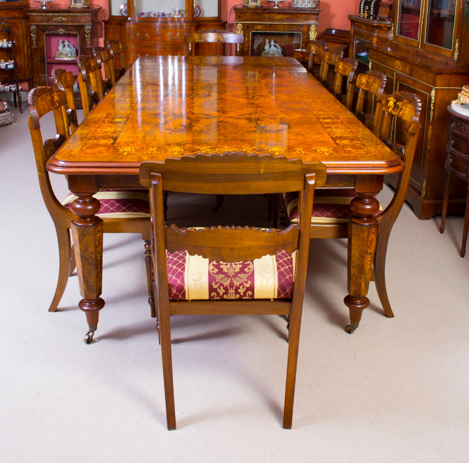 sale retailer 95002 ddc6c Victorian Style Marquetry Dining Table and 12 Chairs at 1stdibs