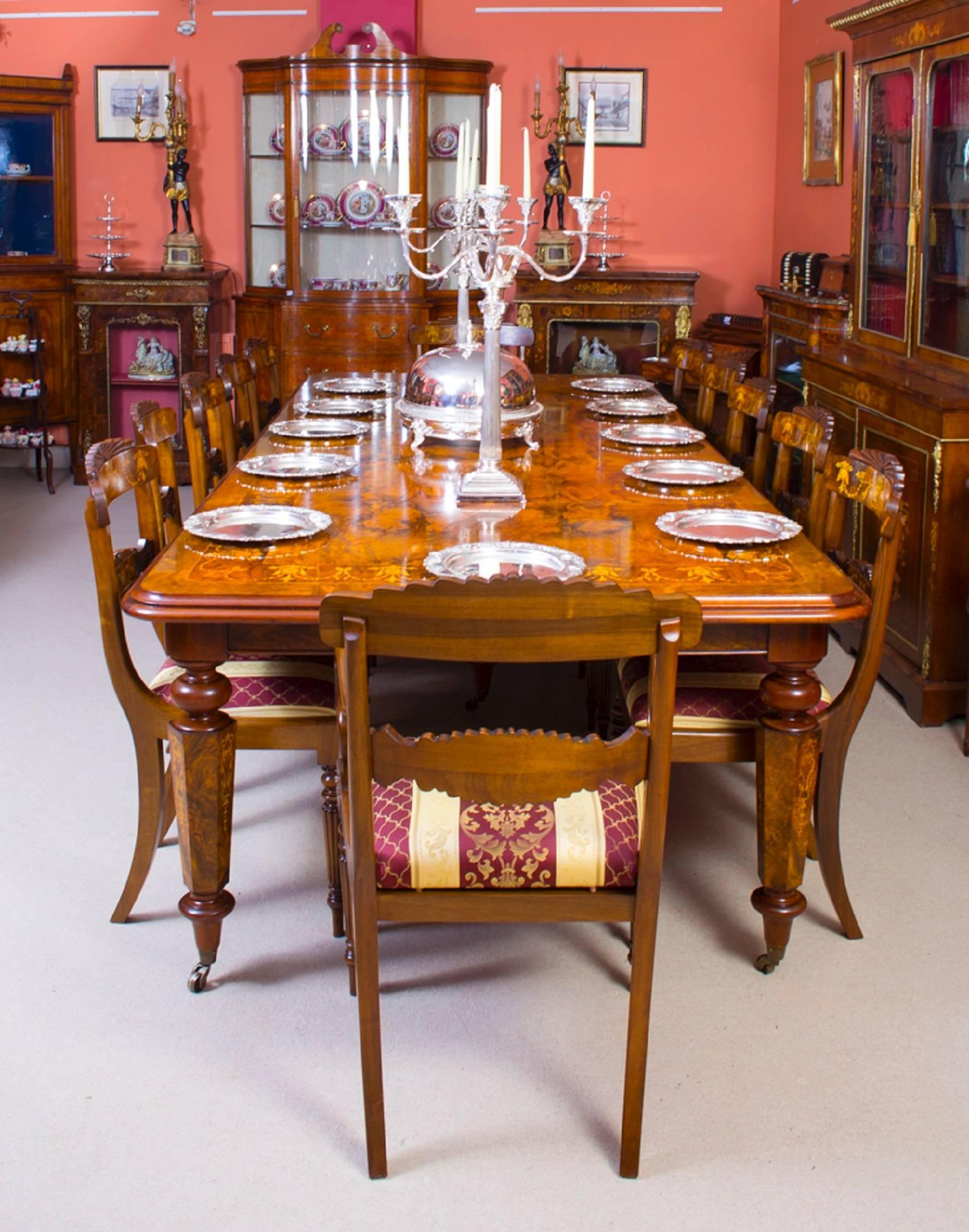 Victorian Style Marquetry Dining Table And 12 Chairs For