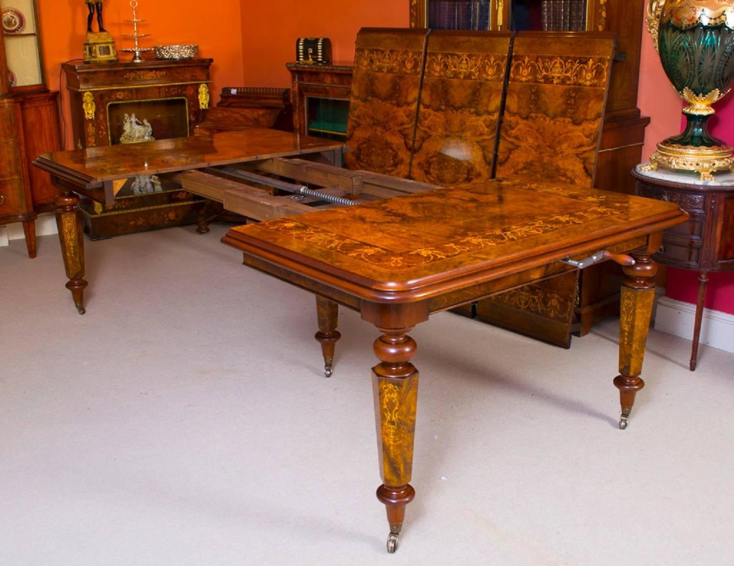 Victorian style marquetry dining table and 12 chairs for for Dining room tables victorian