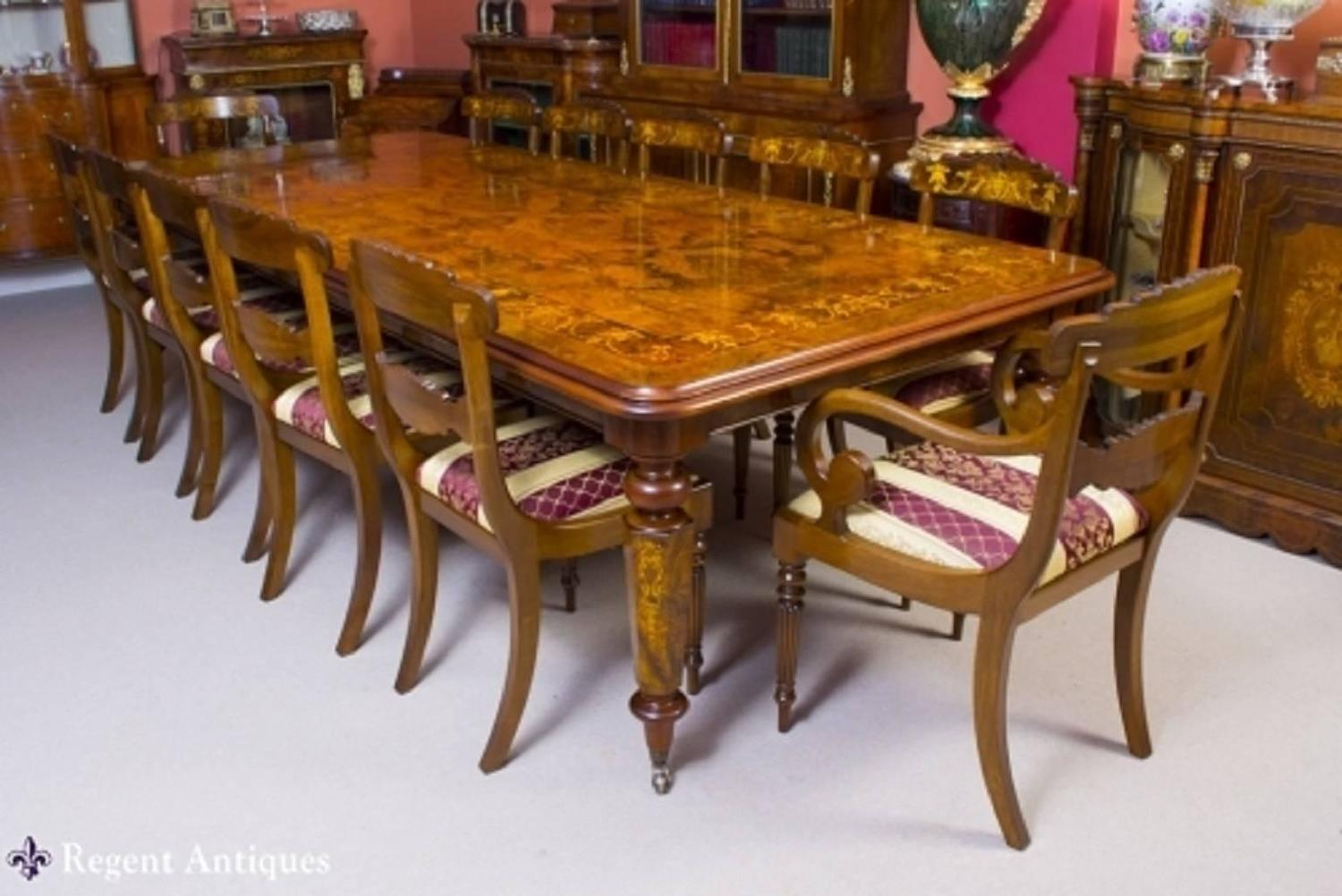 victorian style marquetry dining table and 12 chairs for. Black Bedroom Furniture Sets. Home Design Ideas