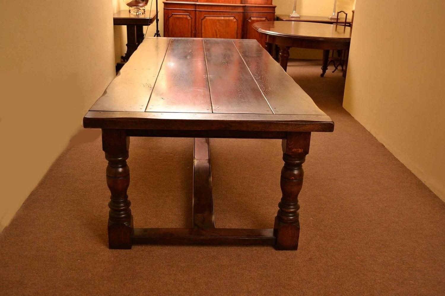Solid Oak Refectory Dining Table And Eight Carolean Chairs For Sale At 1stdibs