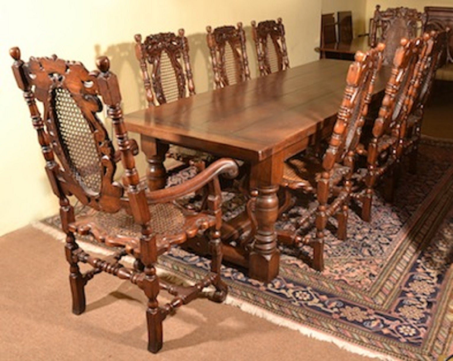 Solid Oak Refectory Dining Table And Eight Carolean Chairs For At 1stdibs