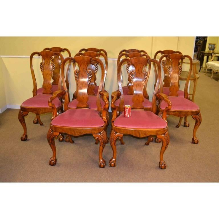 Burr Walnut Regency Style Dining Table And Ten Chairs At 1stdibs