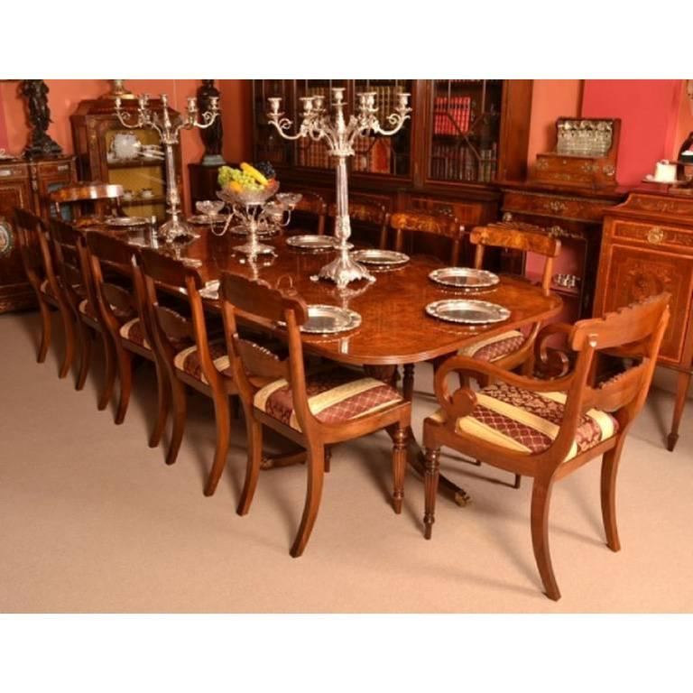 Burr walnut regency style dining table and 12 chairs for sale at 1stdibs for Regency furniture living room sets