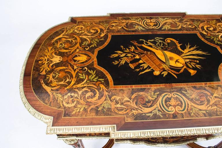 19th Century Marquetry Bureau Plat Writing Table, French In Excellent Condition For Sale In London, GB
