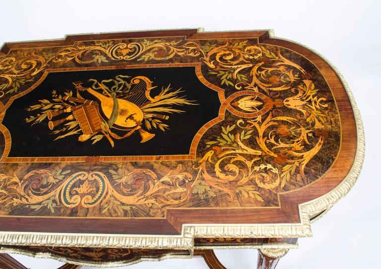 Mid-19th Century 19th Century Marquetry Bureau Plat Writing Table, French For Sale