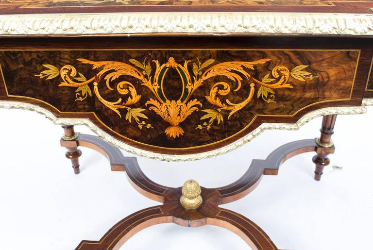 Ormolu 19th Century Marquetry Bureau Plat Writing Table, French For Sale