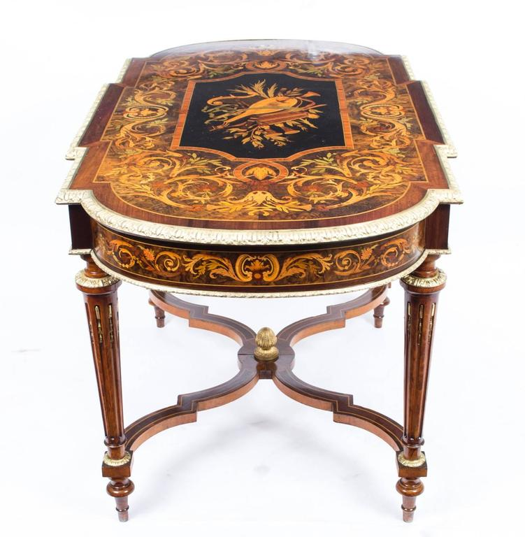 19th Century Marquetry Bureau Plat Writing Table, French For Sale 2
