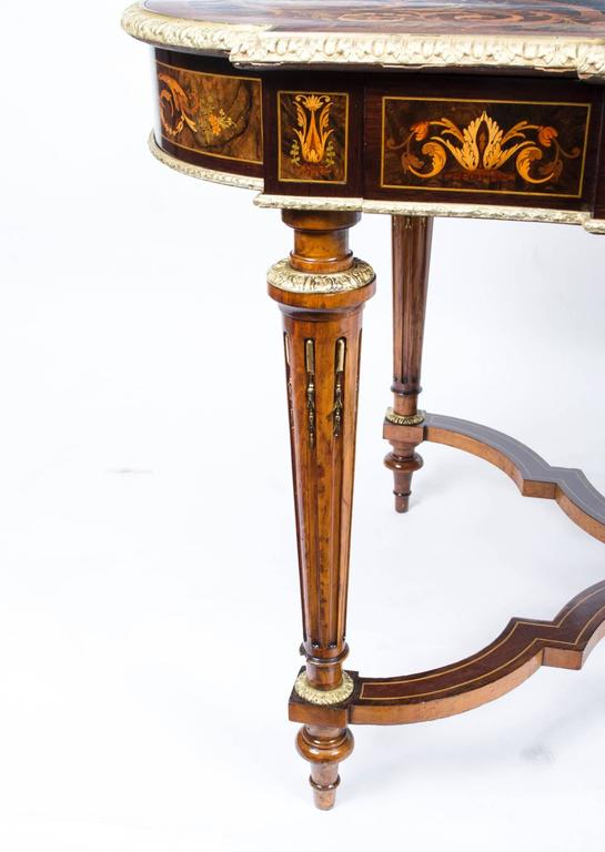 19th Century Marquetry Bureau Plat Writing Table, French For Sale 4