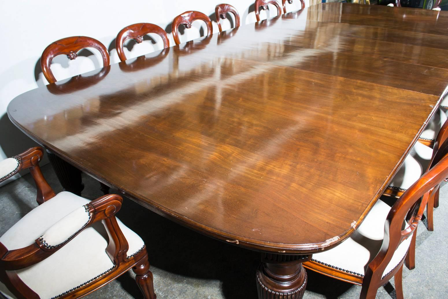 Antique Extending Dining Table 14 Chairs Circa 1880 At 1stdibs