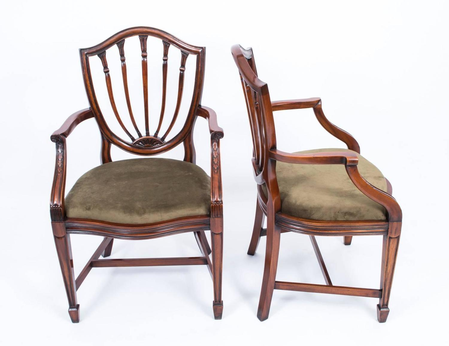 Fabulous Set 12 English Hepplewhite Style Dining Chairs At 1stdibs