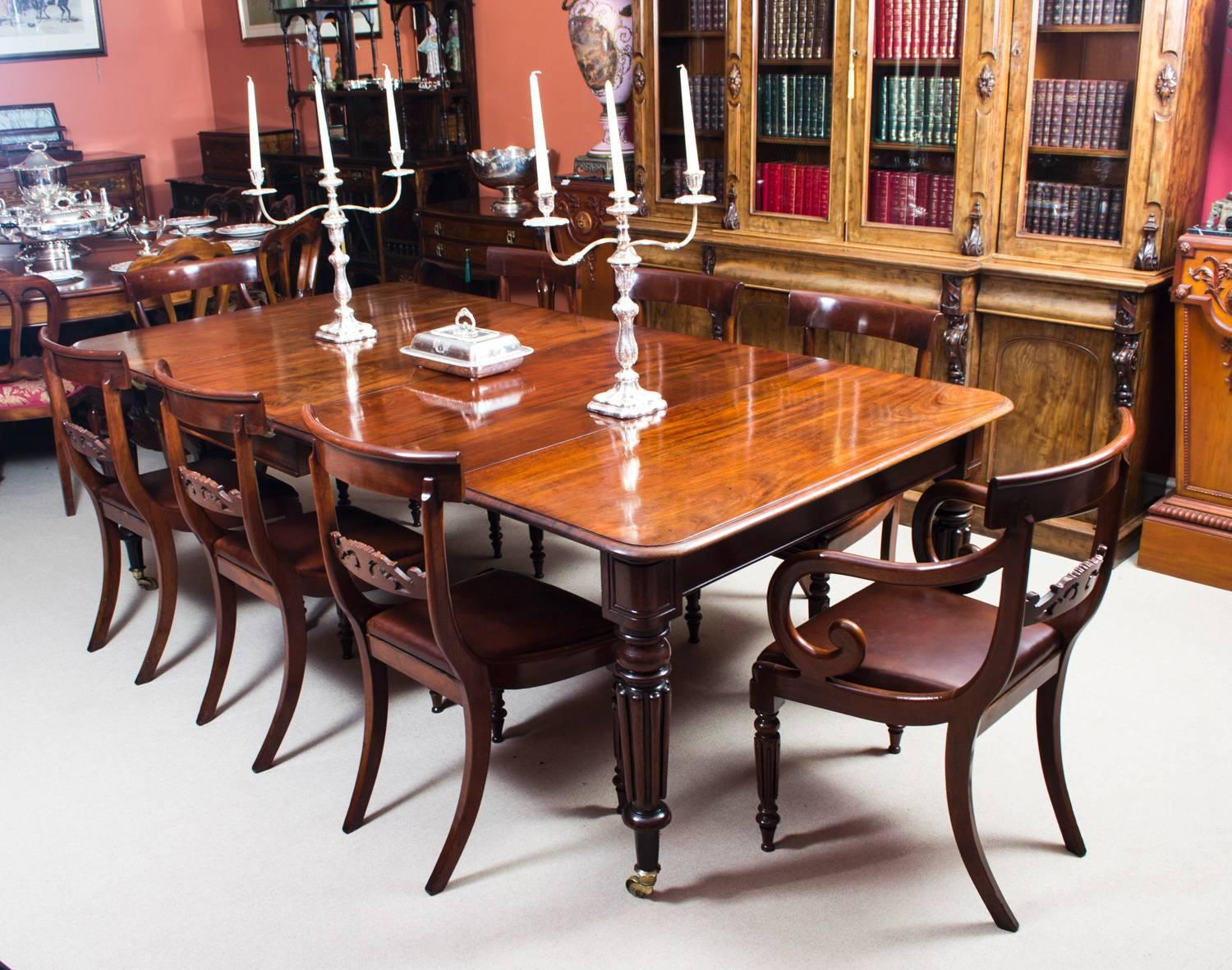 Antique regency mahogany gillows style dining table circa for Regency dining room