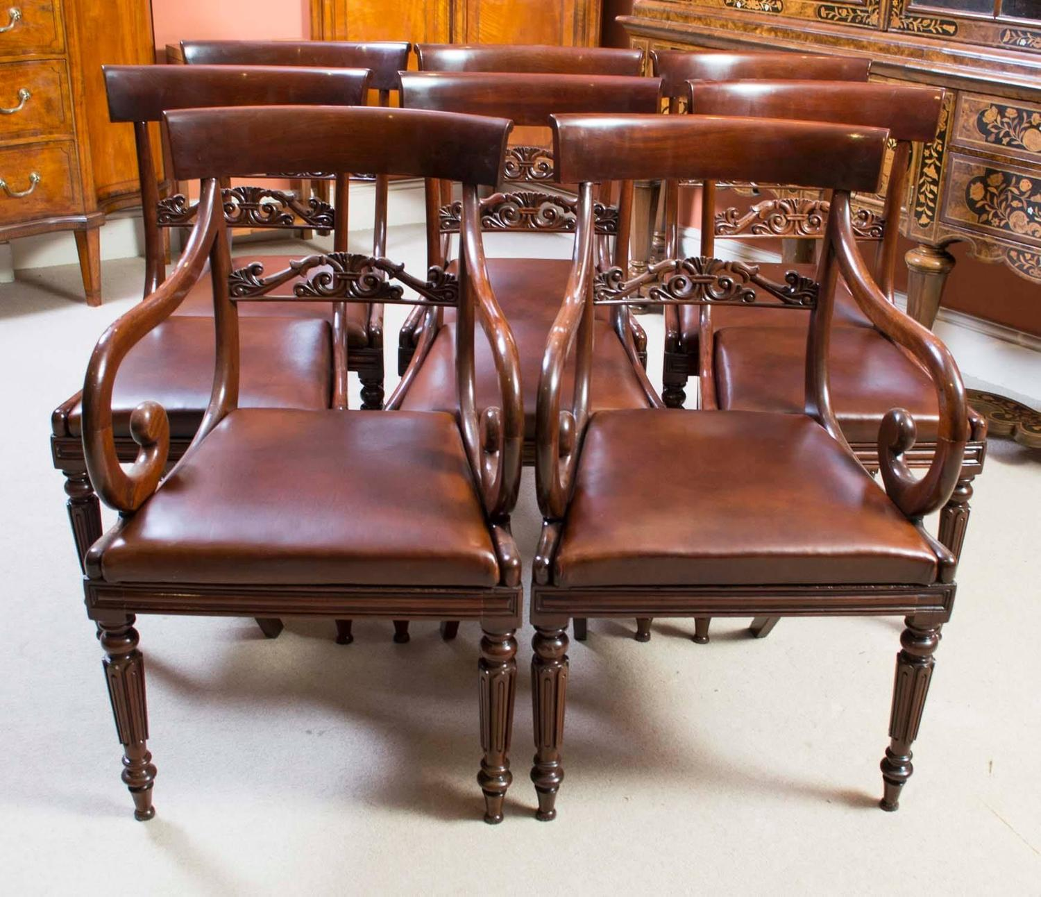 Antique Regency Gillows Dining Table Eight Regency Chairs At 1stdibs