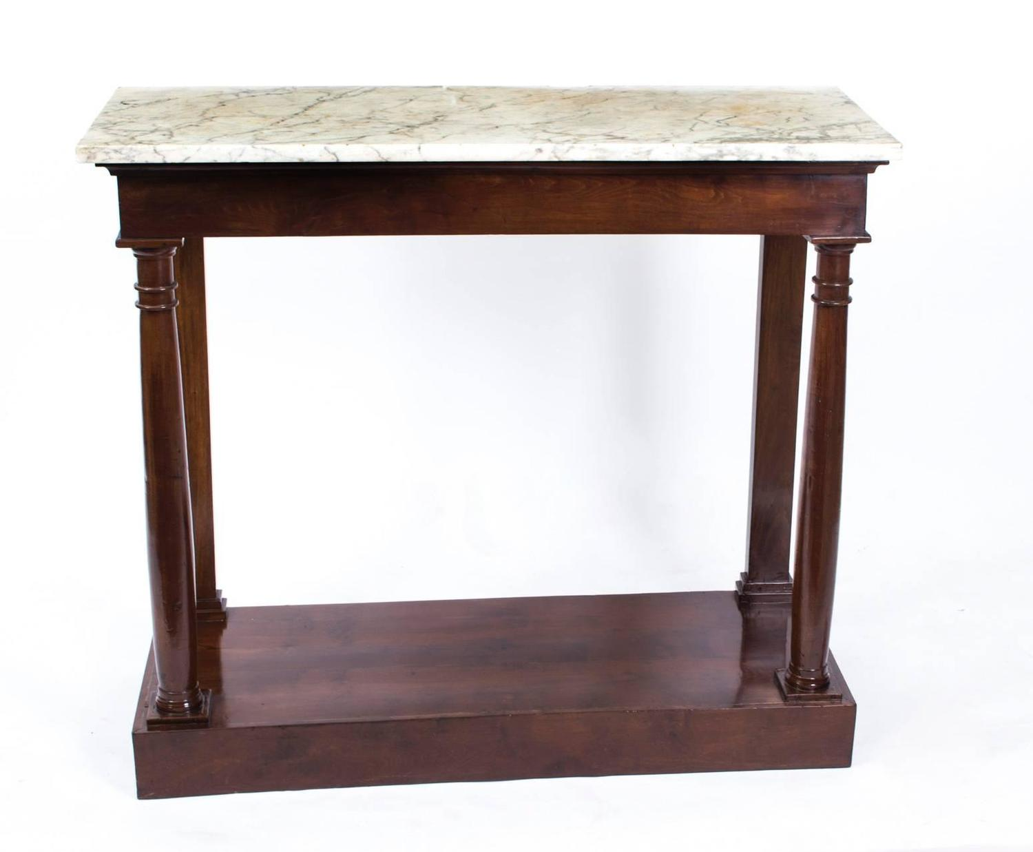 antique french empire console table carrara marble circa