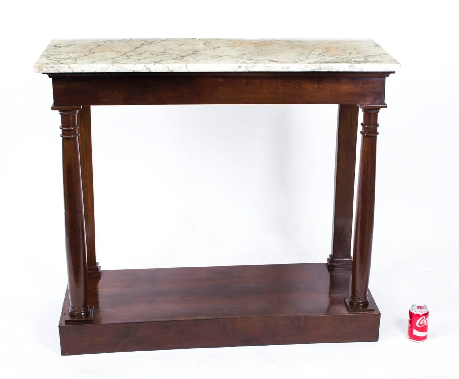 Antique french empire console table carrara marble circa for 10 inch depth console table