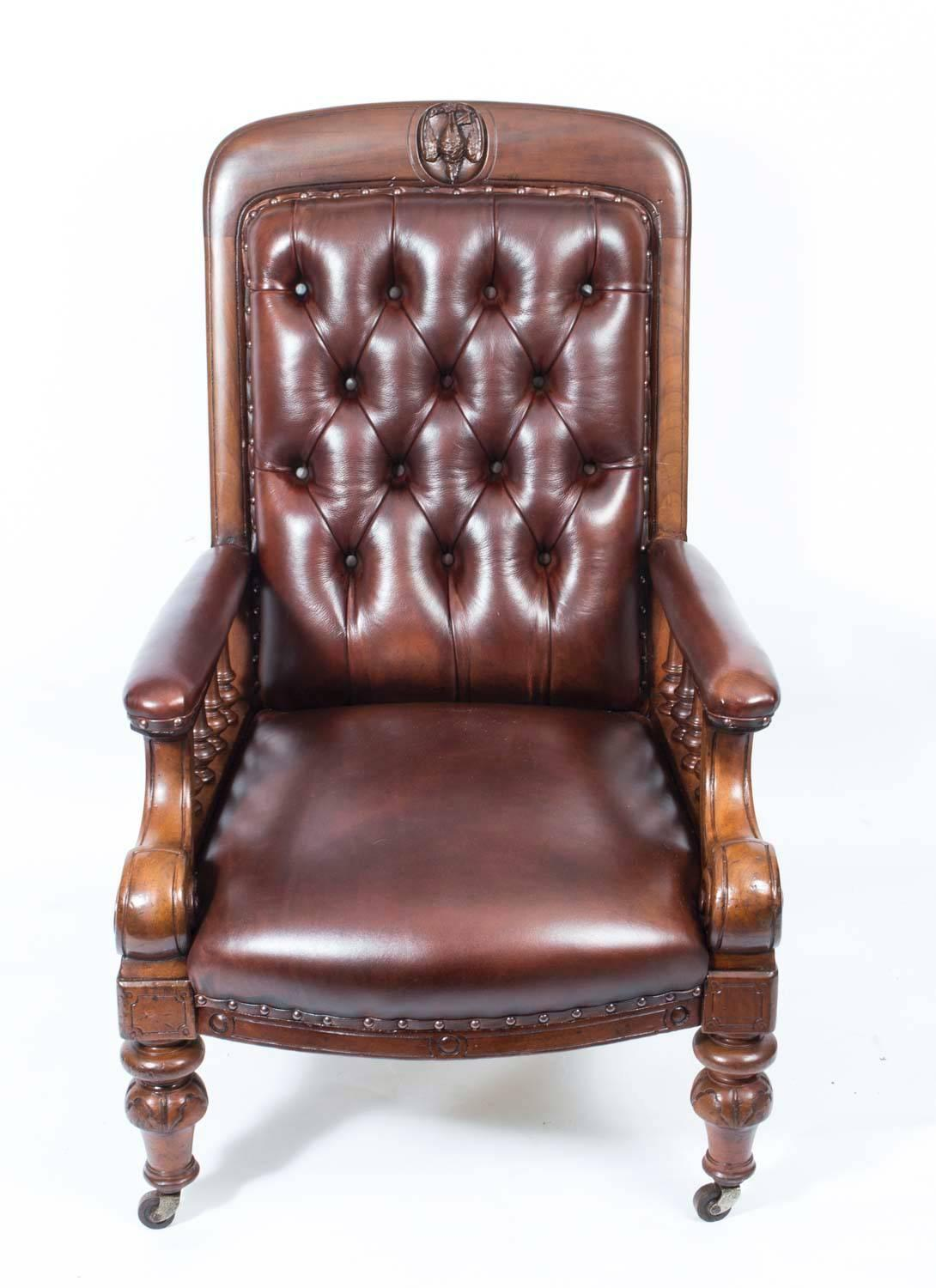 Antique Pair of English Victorian Leather Armchairs, circa ...