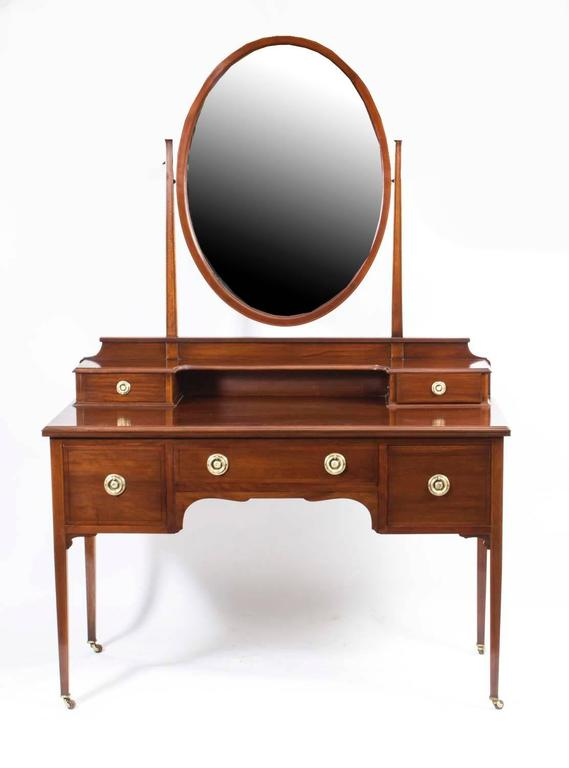 This Is A Totally Fabulous Antique Inlaid Mahogany Dressing Table With Adjule Mirror Circa 1900