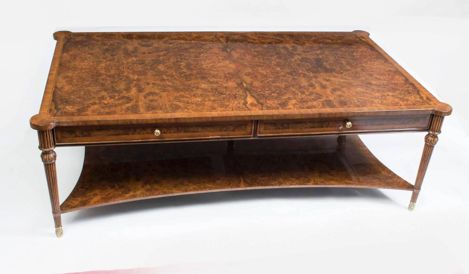 Elegant burr walnut coffee table with two drawers for sale for 12 drawer coffee table