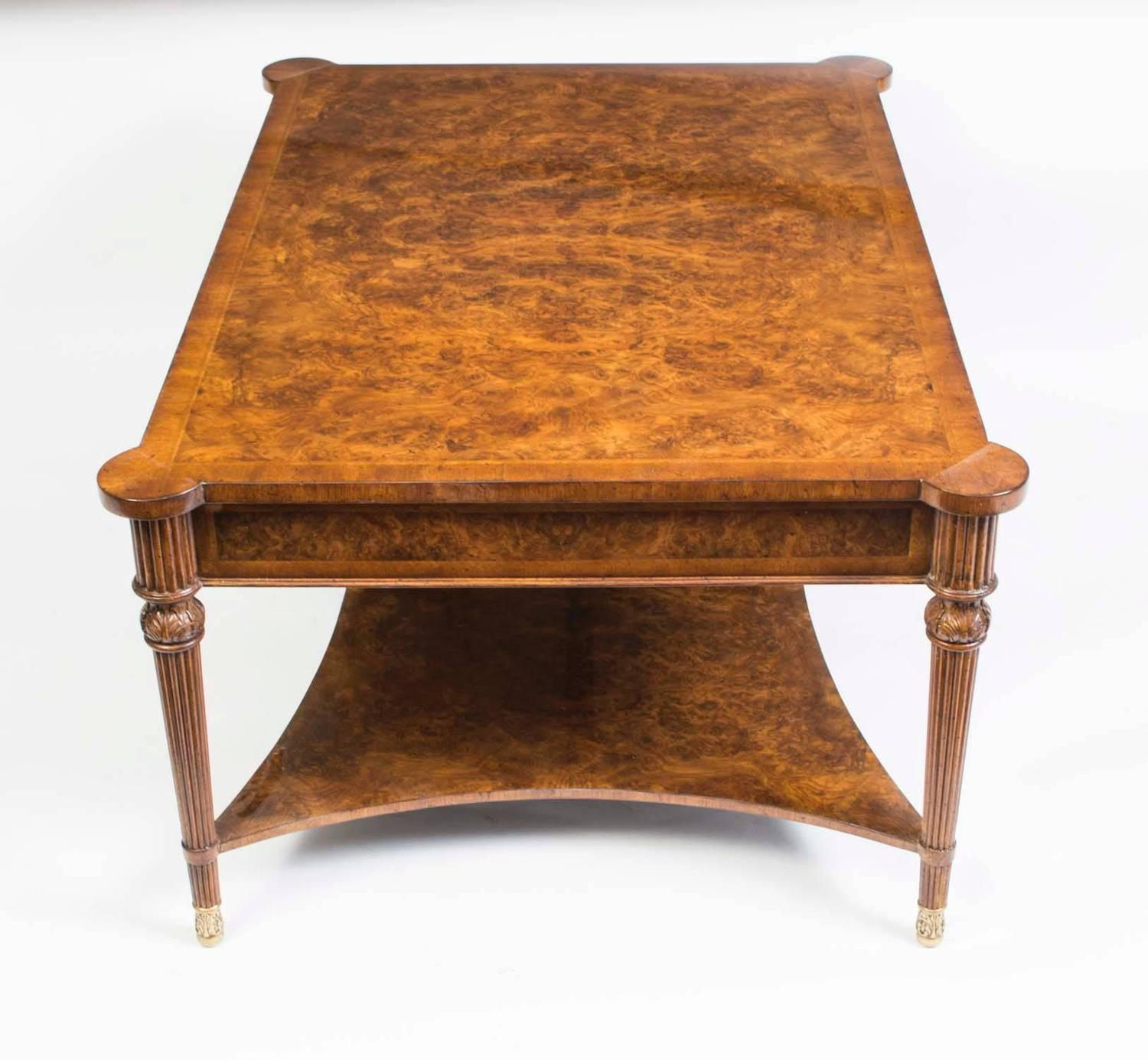 Elegant Burr Walnut Coffee Table With Four Drawers At 1stdibs