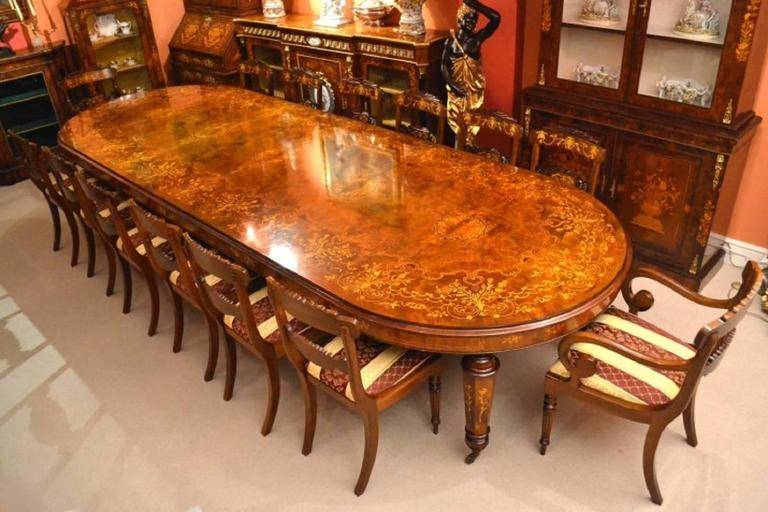 Stunning marquetry burr walnut dining table for sale at for 10 ft dining table sale