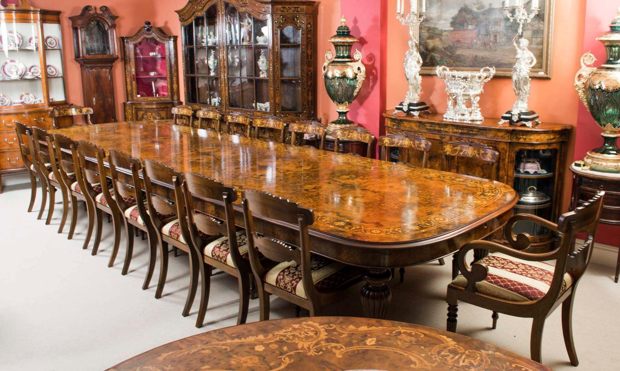 Huge Bespoke Handmade 17ft Marquetry Burr Walnut Dining Table For