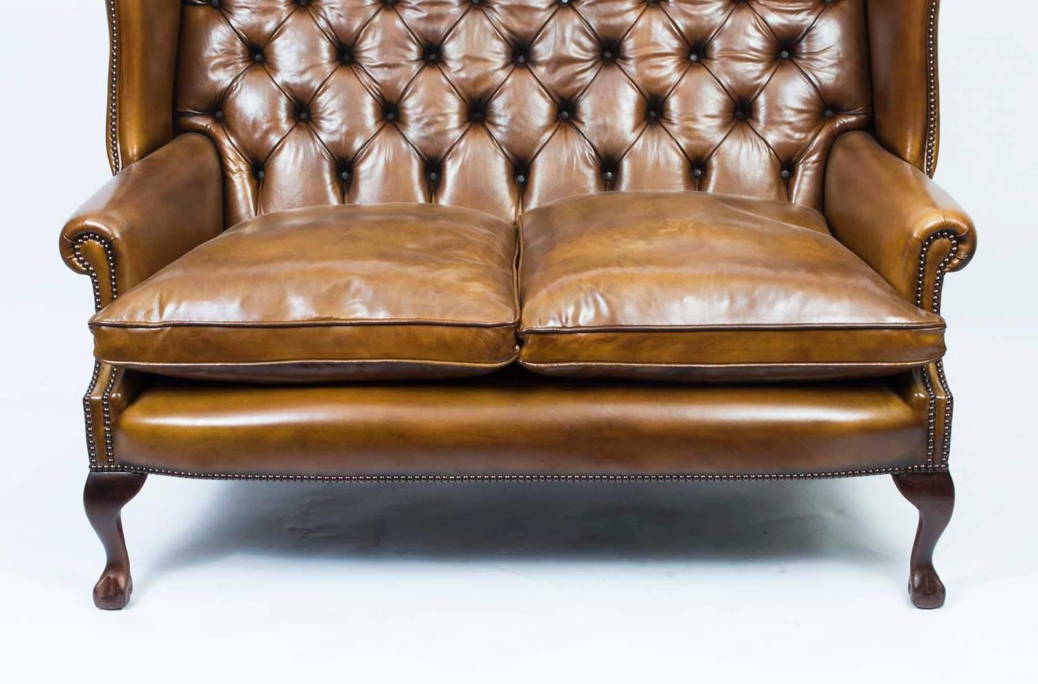 English Leather Chippendale Club Settee Sofa In Cognac For Sale At 1stdibs