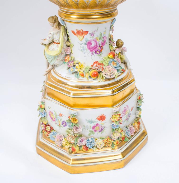 Huge Pair Of Delightful Dresden Style Porcelain Vases At 1stdibs