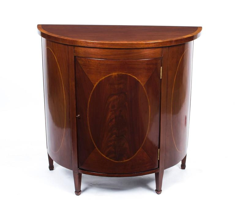 Lovely Antique Half Moon Sheraton Mahogany Inlaid Commode 2