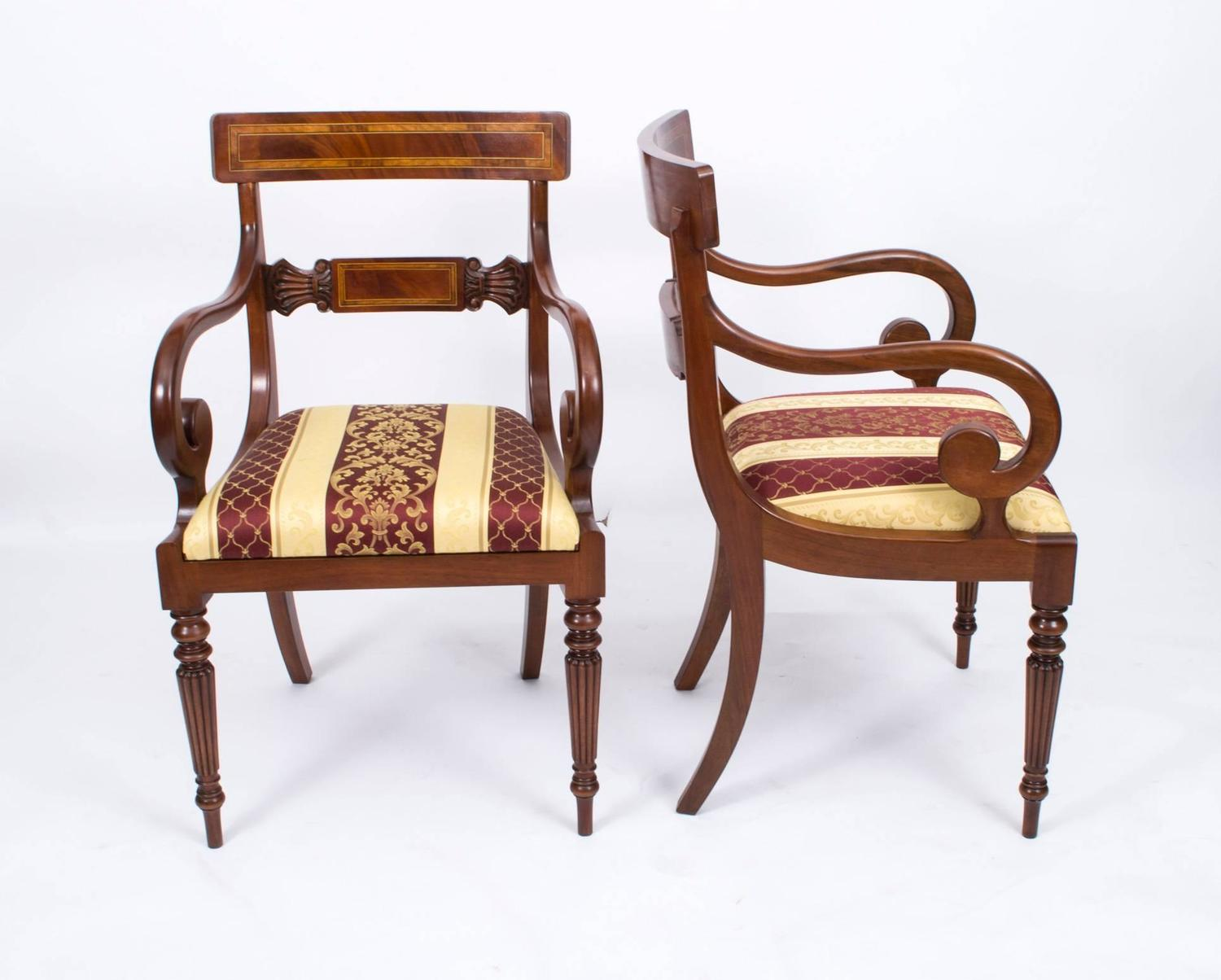 Splendid Set Of 12 Regency Style Dining Chairs And Armchairs At 1stdibs
