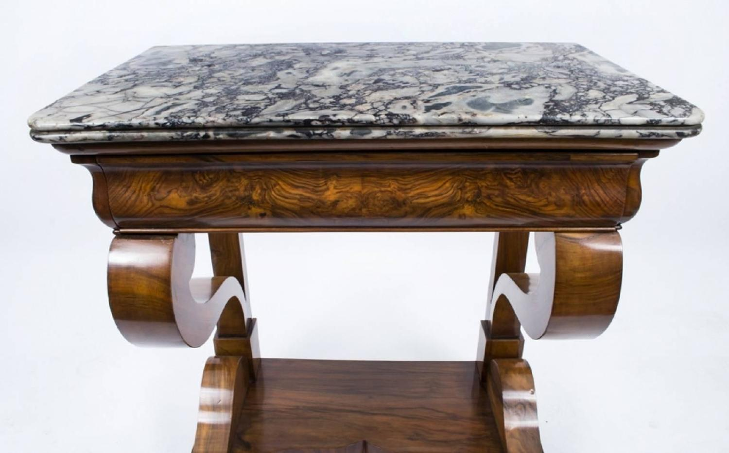 Antique charles x period walnut console table circa 1830 for 10 inch depth console table