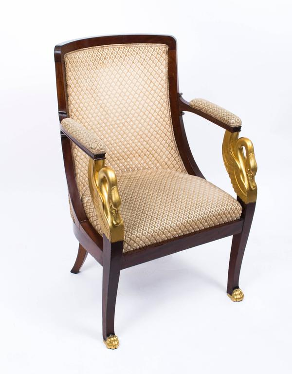This Is A Beautiful Pair Of Hand Carved And Gilded Solid Gany French Empire Armchairs