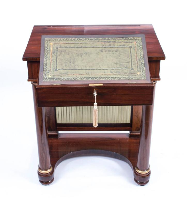 Early 19th Century 19th Century English Empire Rosewood Console Writing Table For Sale
