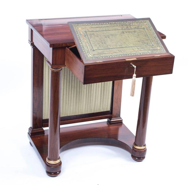 19th Century English Empire Rosewood Console Writing Table For Sale 1