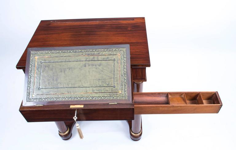 19th Century English Empire Rosewood Console Writing Table For Sale 2