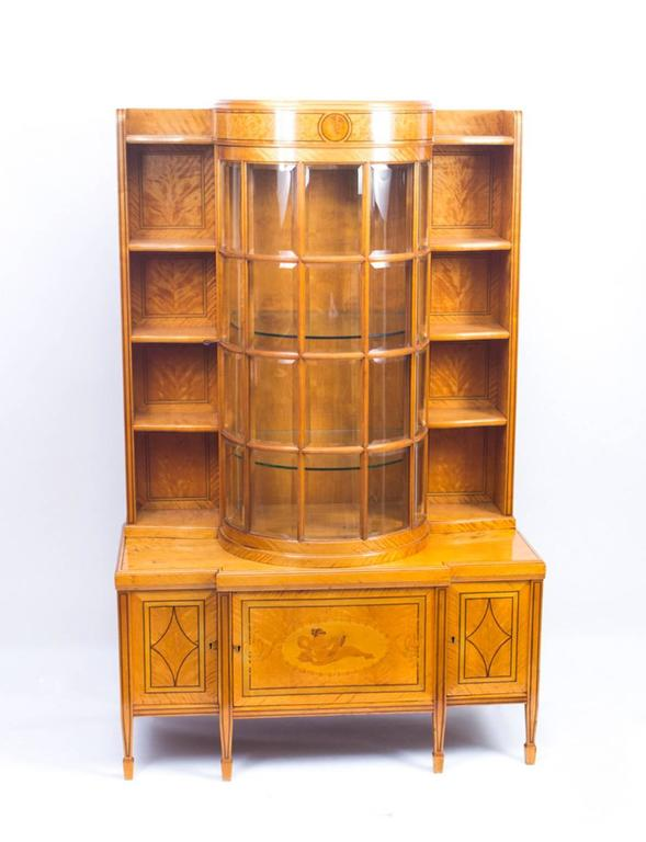 Antique late victorian satinwood display cabinet circa for 1890 kitchen cabinets