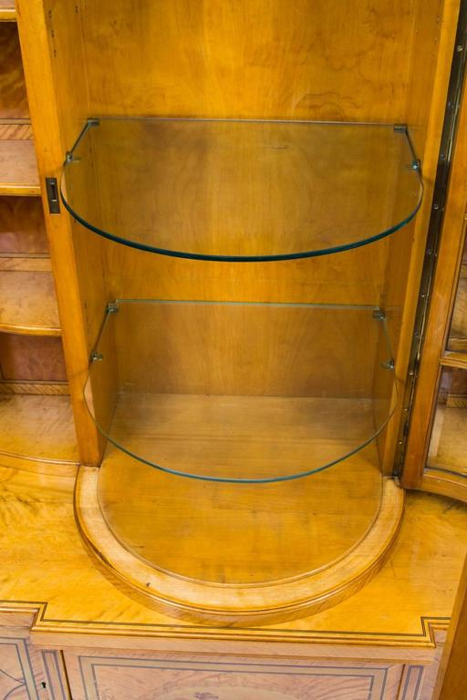 Glass 19th Century Late Victorian Satinwood Display Cabinet For Sale