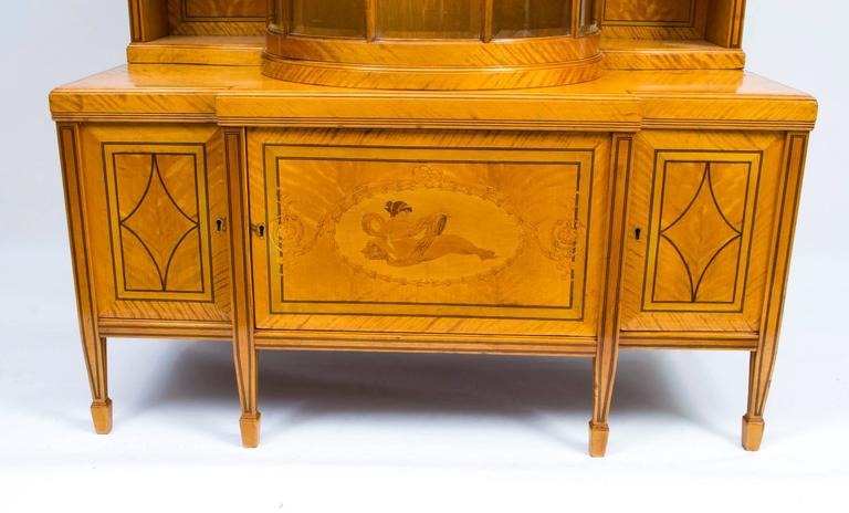 19th Century Late Victorian Satinwood Display Cabinet For Sale 4