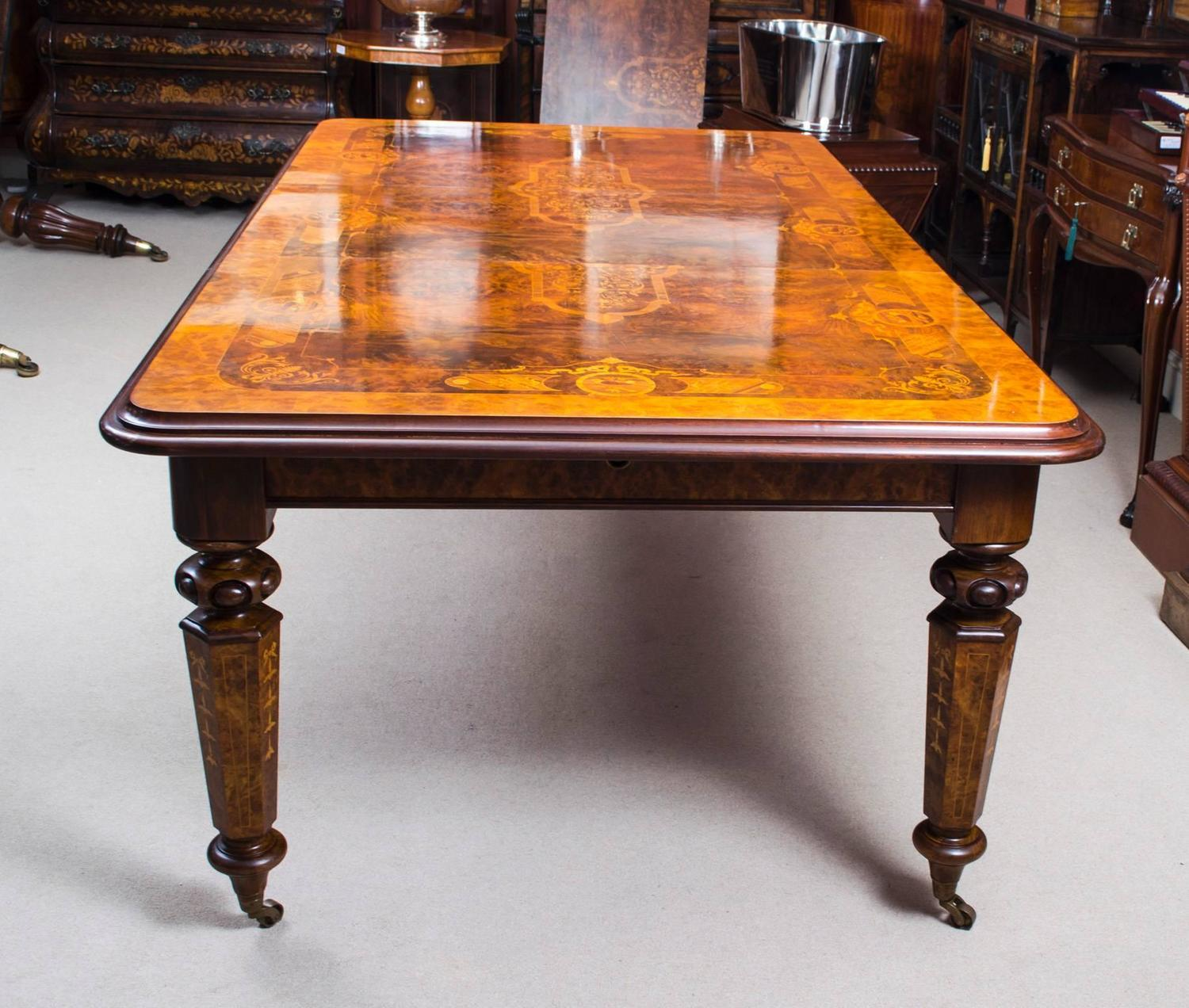 Stunning burr walnut and marquetry dining table for sale for 10 ft dining table sale