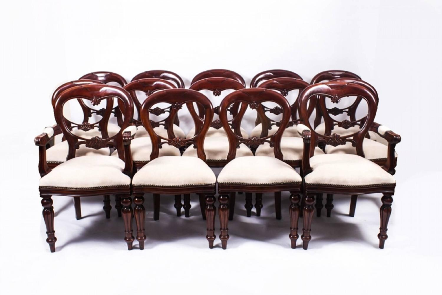 Antique Victorian Dining Table And 14 Chairs Circa 1850 For Sale At