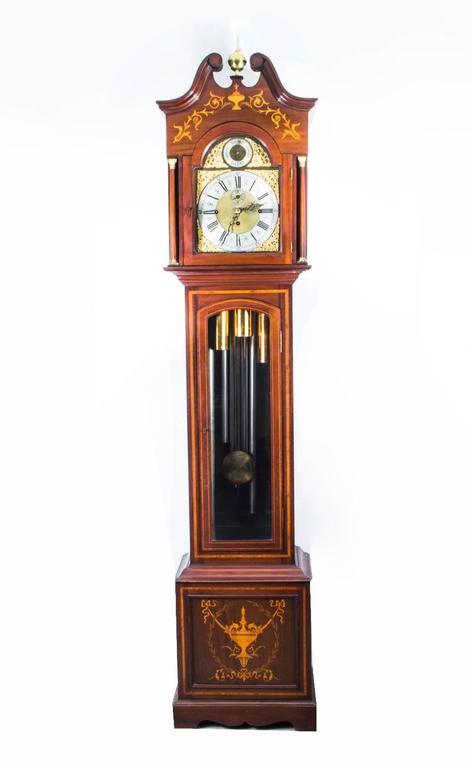 Antique English Nine Tube Musical Longcase Clock Circa