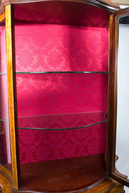English Early 20th Century Edwardian Inlaid Display Cabinet For Sale